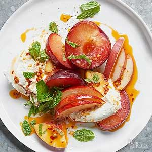 Burrata is made by forming mozzarella (either buffalo or cow's milk) into a hollow pouch and filling it with a soft, stringy mixture of curd and fresh cream./