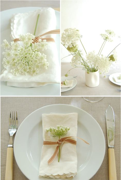 lace, a wild flower, and twine. i'm loving this for easter, but it would be pretty for mothers day, a bridal lunch, adult birthday...