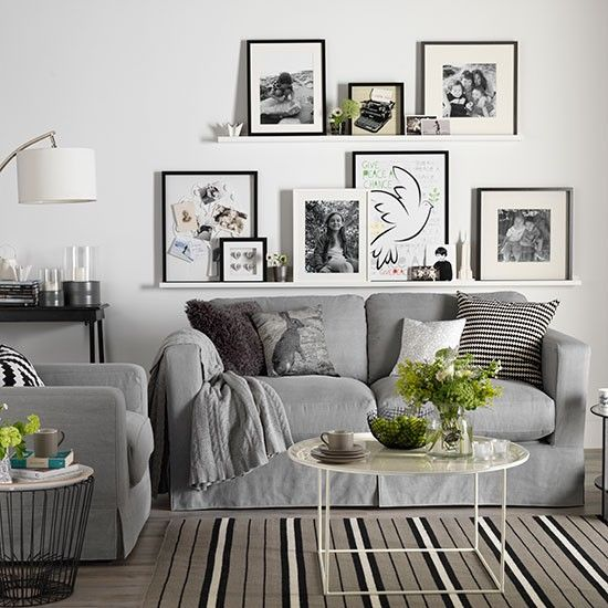 White living room with photo display | Living room decorating | Ideal Home | Housetohome.co.uk