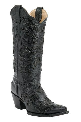Corral Women's Black Sequined Inlay Cowgirl Boots [A1070]   Redneck Outpost