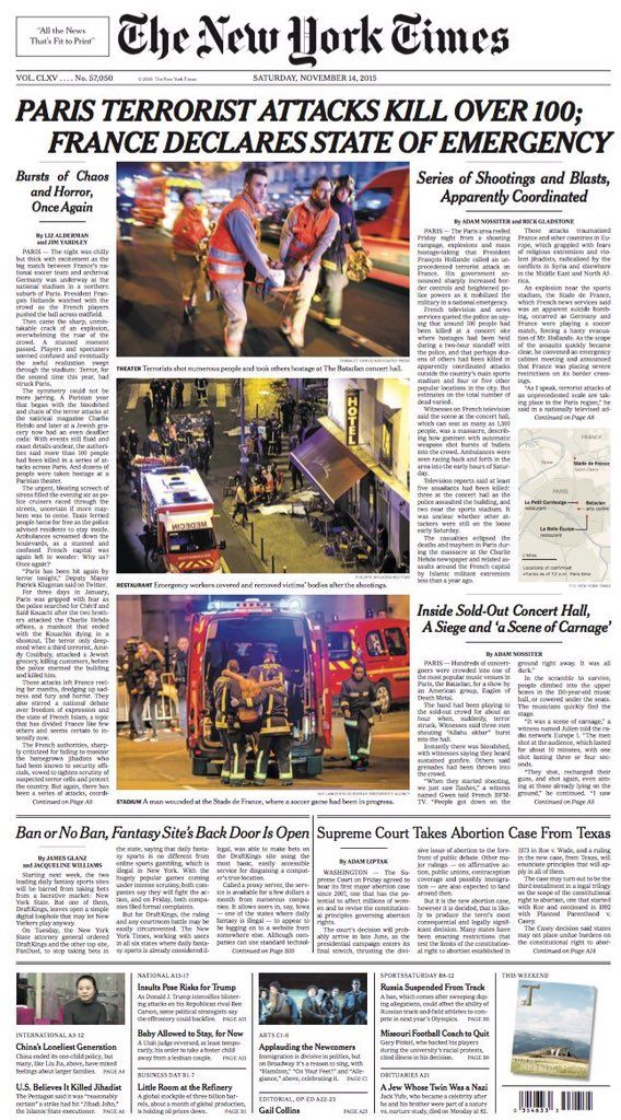 NYT about Paris Terror Attacks