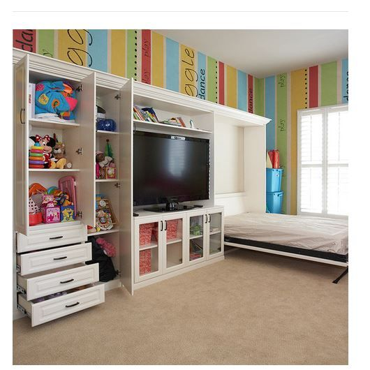 Playroom, Guest Room And Media Center All In One! Find This Pin And More On Wall  Cabinet Designs ...