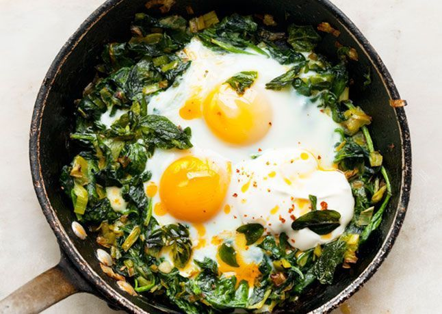 Fried eggs sunny side up with spinach and chillies