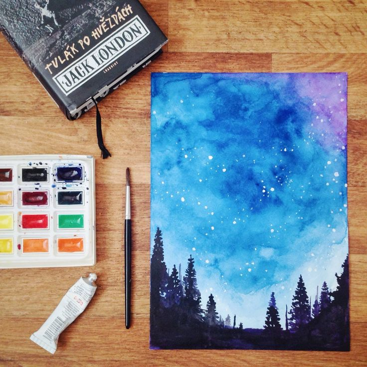 Starry night watercolor painting.