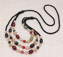 top quality natural tourmaline stones crystal beads long necklaces for women trendy party jewelry accessories free shipping(China (Mainland))
