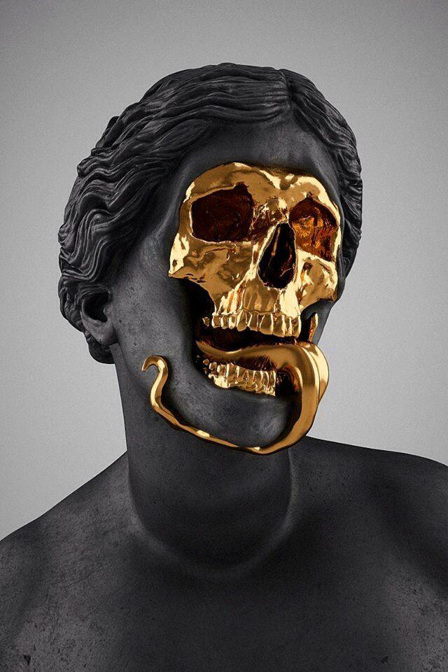 gold skull face