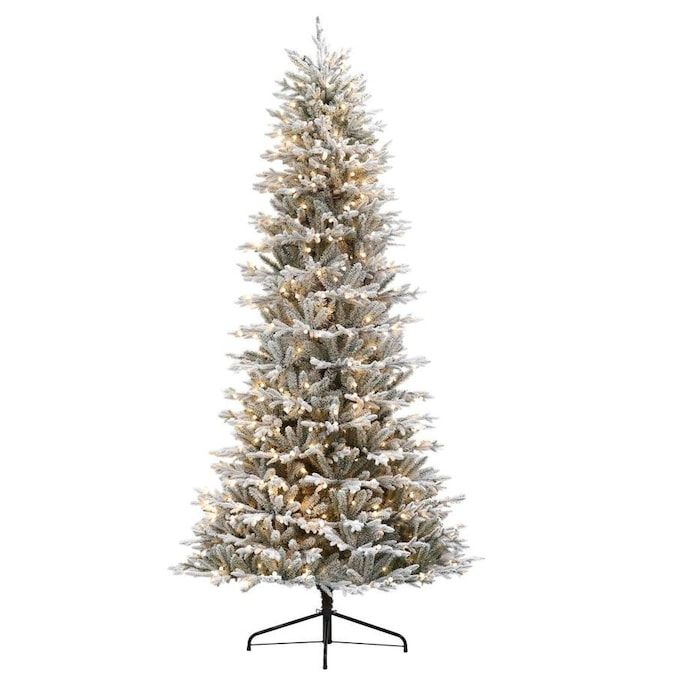 Holiday Living 9 Ft Essex Fir Pre Lit Traditional Slim Flocked Artificial Christmas Tree With 700 Constant Warm White Led Lights Lowes Com In 2021 White Led Lights Best Artificial Christmas Trees Artificial Christmas