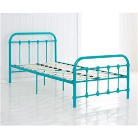 Vintage Style Metal Frame Single Bed Aqua Kmart Zaviers