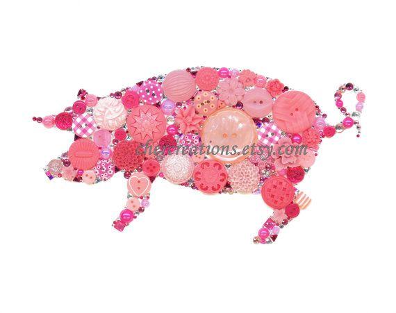 ROZE PIGGY 76 8 x 10 knop kunst kunstwerk van de knop