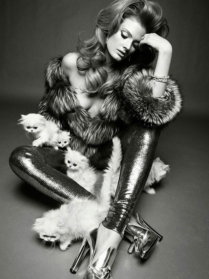 In Honor of International Cat Day, Fashion's Best Cat-itorials: Constance Jablonski in Vogue Italia