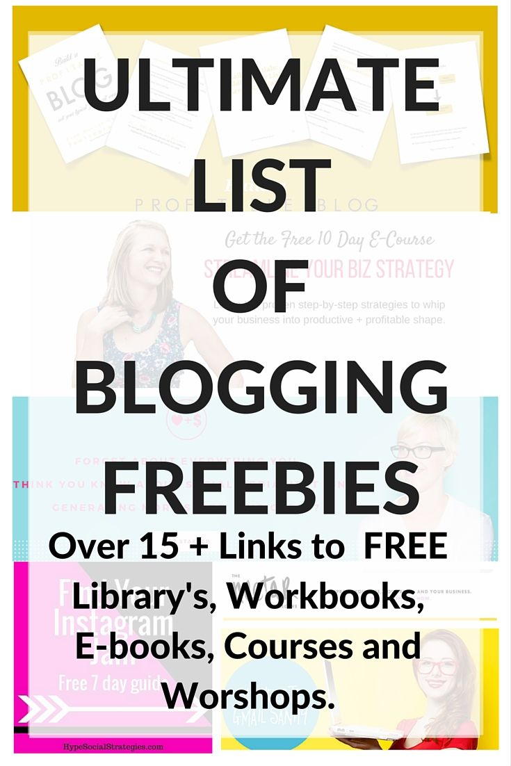 First off, who doesn't love a good freebie? I have complied a list of my  favorite blogging freebies. These will help grow you blog, business or  brand. I would suggest only taking a couple of these at a time. If you take  all of them - I'm pretty sure your inbox will EXPLODE! In this link round  up, I mixed in courses, libraries, workbooks, photos and e-books. Again,  these are ALL FREE, in exchange for a email, of course. But they are  totally worth it! I PROMISE.