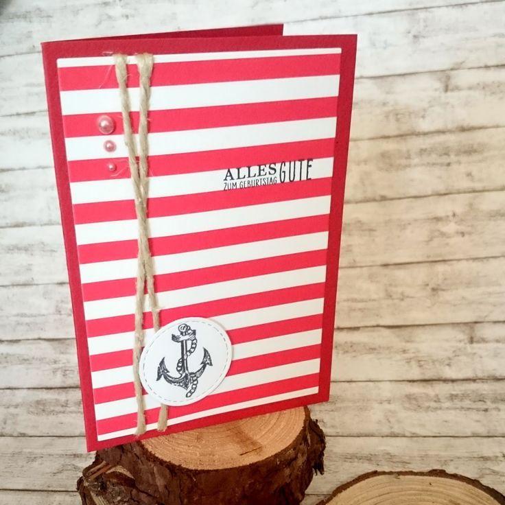 [DIY] Sea Side Birthday: Red Stripes and Anchor // Maritime Geburtstagskarte mit roten Streifen und Anker