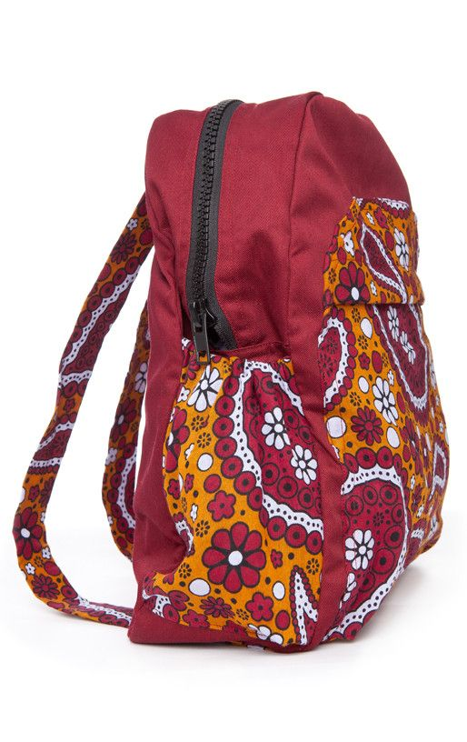 Mayamiko | Red Backpack with front and side pockets