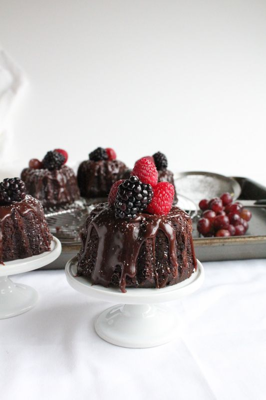 Mini Chocolate Bundt Cakes. . . Perfection in a bundt cake.