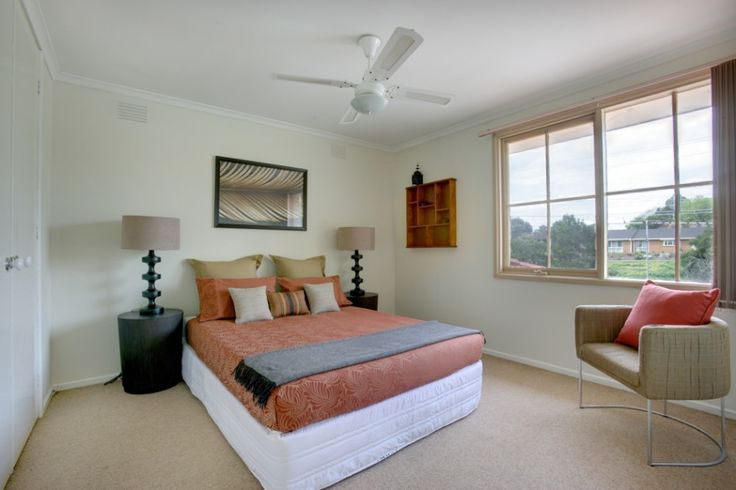 [Bedroom] : Interesting Bedroom Decoration With Indoor Flooring In Laminating Of Carpet As Long As One Bed In Queen Size With Big Fan In Nikel Plus Two Big Glass Windows In Frame