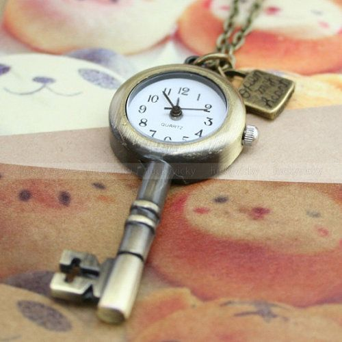 Vintage pocket watch necklace with antique bronze key and lock pendant