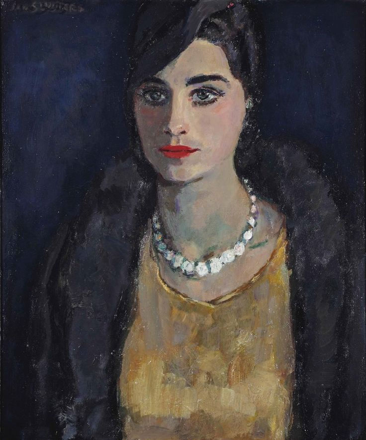 Jan Sluyters - Elegant woman with a pearl necklace. Oil on canvas