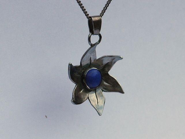 'Dark Flower' Sterling Silver Pendant with Lapis Lazuli Gemstone,  P131 £27.00