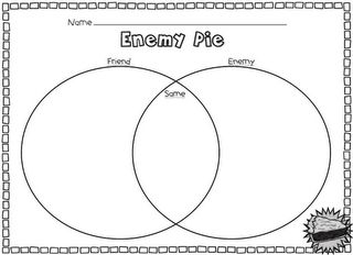 """Freebies for the book """"Enemy Pie."""" Great book for discussing how to treat one another!"""