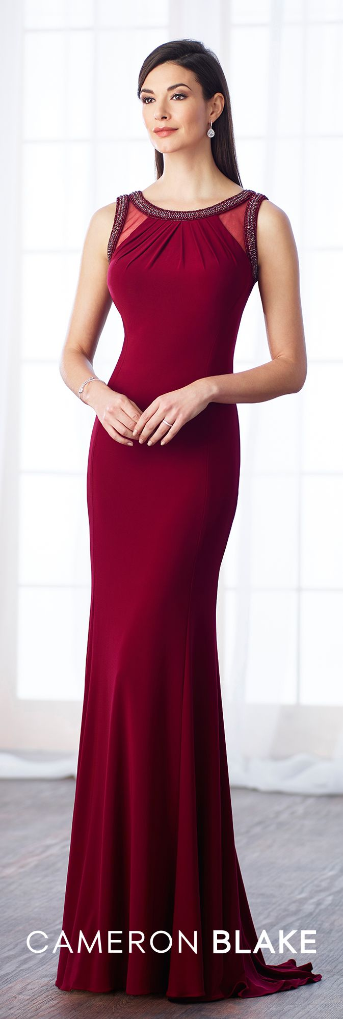 Formal Evening Gowns by Mon Cheri - Fall 2017 - Style No. 217634 - wine sleeveless matte jersey trumpet fit and flare evening dress with diamond-shaped keyhole back
