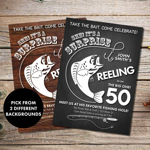 Fishing Birthday Invitation - Printable Fisherman Birthday Invitations - 30th 40th 50th 60th 70th 80th Rustic Mens Birthday Invites  *To get the look shown, print on craft paper.  This listing is for a PRINTABLE one-sided invitation for you to print at home or print through a print shop.  This card comes as 4x6 or 5x7. Everything is sent through email only for you to print yourself. Nothing will be shipped to you, so no more waiting or paying for the post!  How to customize: Please list…