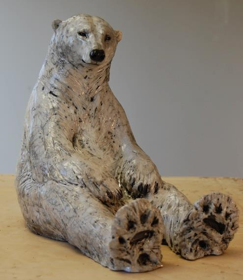Nick Mackman Animal Sculpture,  Polar bear sculpture. I've had fun imagining what is going through this polar bear's mind. What do you think he is thinking?  http://clayanimalsculptures.co.uk/project/polar-bear-sculptures,https://fbcdn-sphotos-b-a.akamaihd.net/hphotos-ak-snc6/282981_452411734820372_1356945198_n.jpg