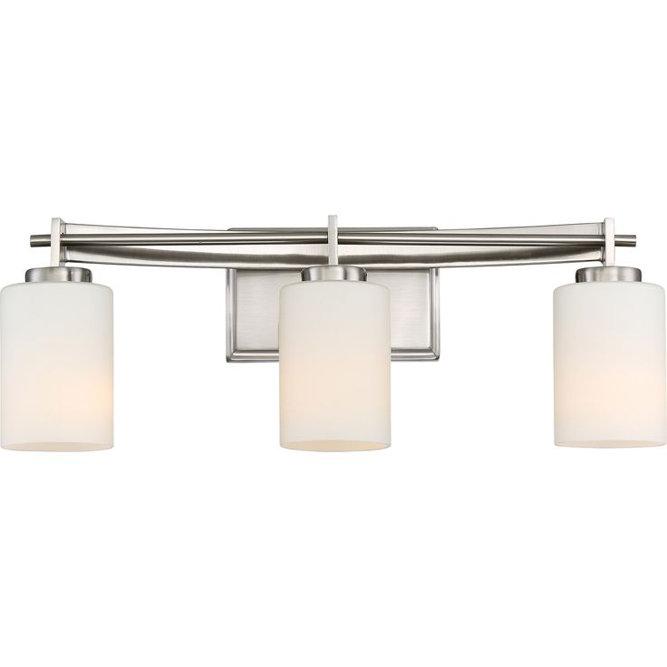 Taylor - BN Brushed Nickel Finish, Bath Fixture With 3 Lights: Linear style and precise design are the elements of this strong contemporary collection.  The opal etched glass compliments the antique nickel finishes beautifully.  The Taylor collection will enhance any room in your home.