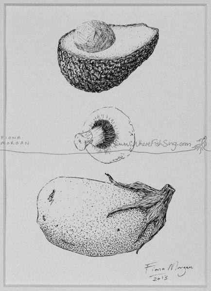 EGGPLANT / AUBERGINE Mushroom Avocado Food Art ORIGINAL Matted Vegetables Botanical Drawing Kitchen Decor Black & White pen ink mindfulness by WhereFishSing
