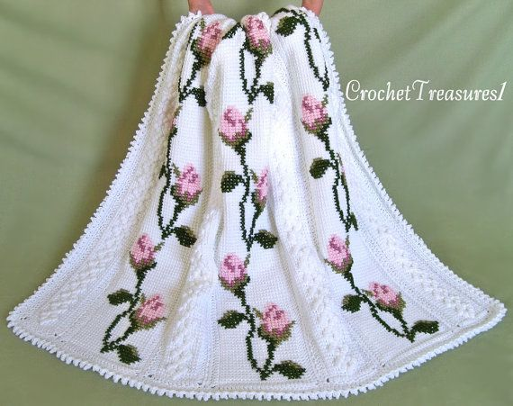 Amongst the Roses Bedspread or Throw / Queen by CrochetTreasures1