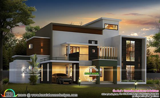 Contemporary Style 3818 Sq Ft 5 Bedroom Home In 2020 Kerala