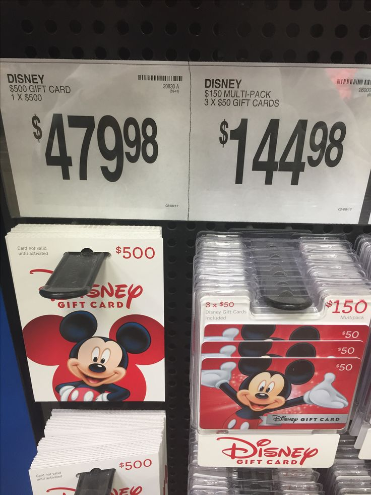 Sam's Club for discounted Disney gift cards