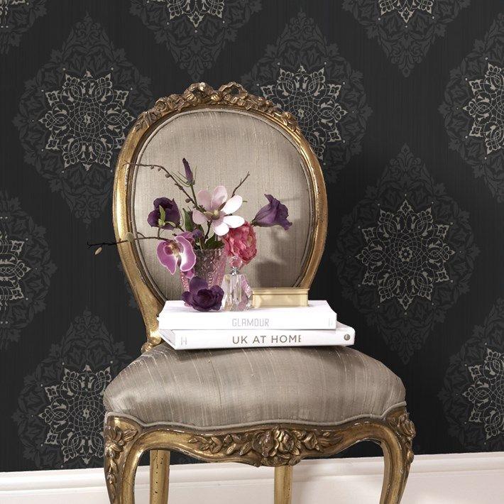Dark Floral Wallpaper Powder Room