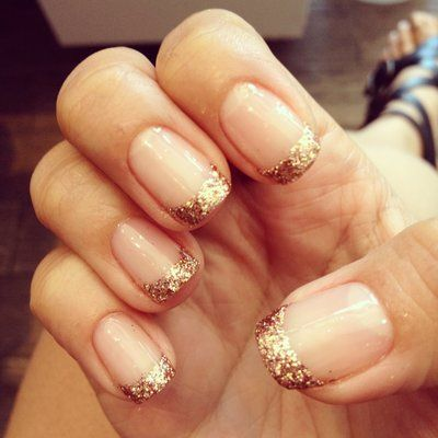 gold bling french manicure