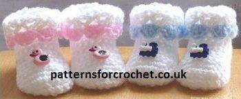 FREE Booties Baby Crochet Pattern from http://www.patternsforcrochet.co.uk/cutie-booties-usa.html #crochet #patternsforcrochet