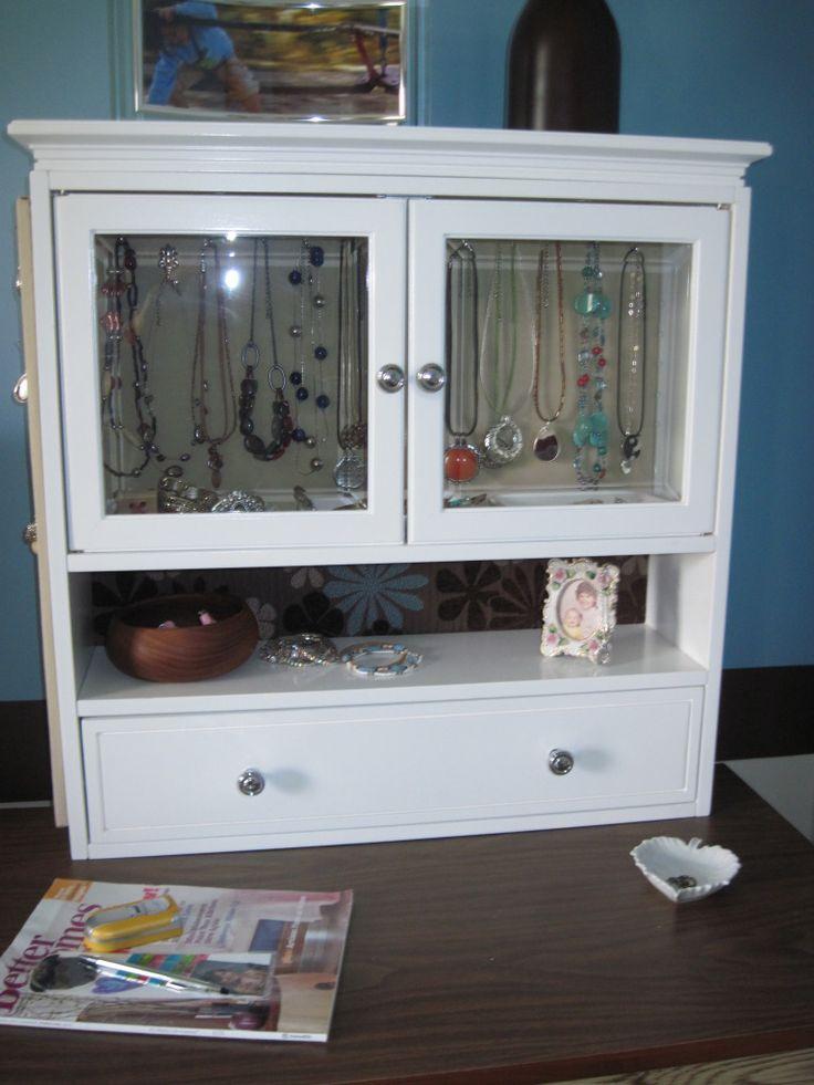 DIY jewelry storage using inexpensive bathroom cabinet