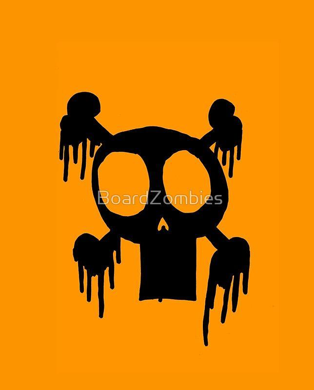 Zombie MEGA ORANGE SKULL Logo  By BoardZombies Skate Art Design