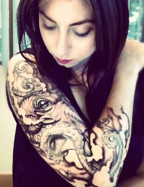 Young Girl Has Ocean Octopus Tattoo On Sleeve