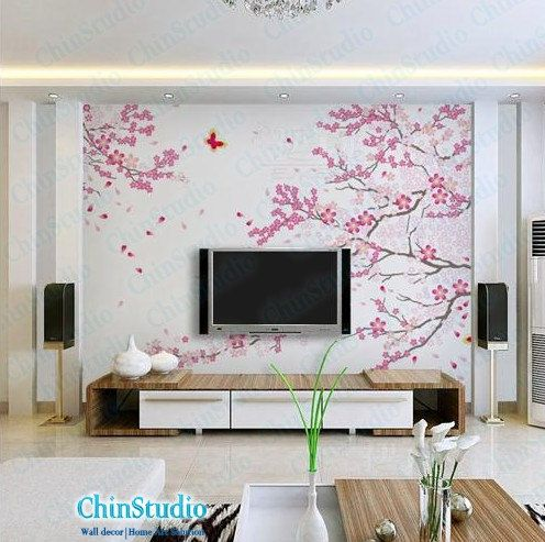 Vinyl wall decals cherry blossom tree decal with butterfly for Cherry tree wall mural