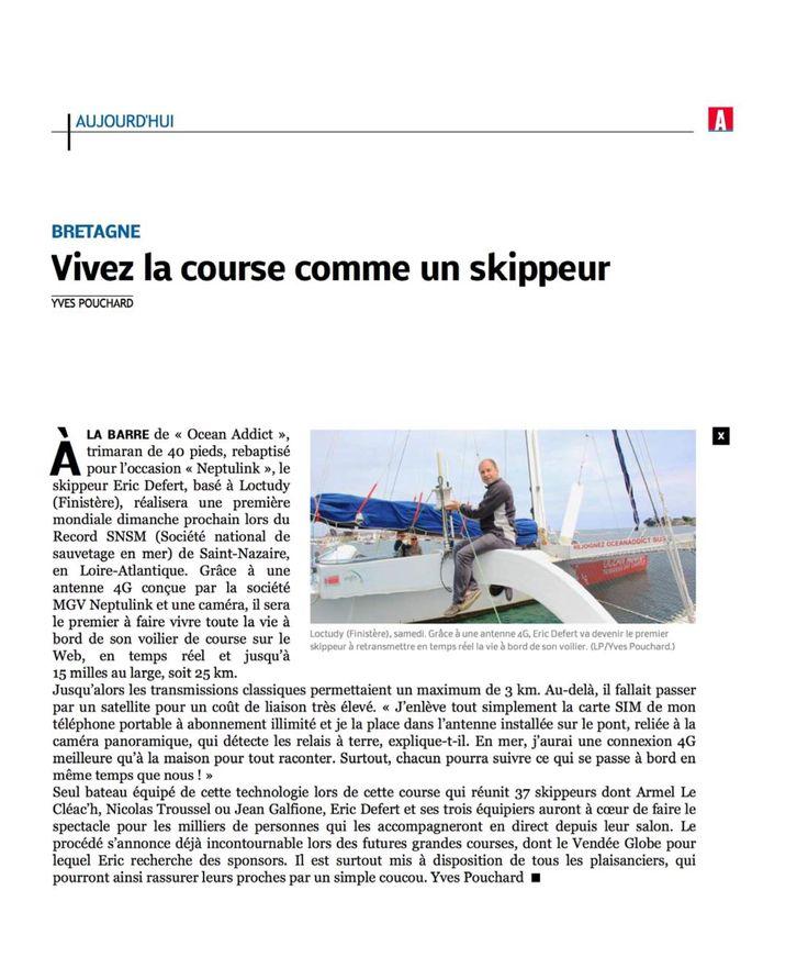 Le navigateur et agent commercial nautisme Eric Defert dans Le Parisien