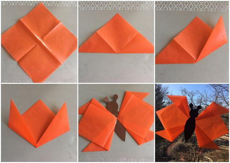 Wir haben heute unsere Fenster für den Frühling dekoriert. Dazu haben wir aus Transparentpapier -Quadraten (20x20cm) einfache Flügel gefalte...