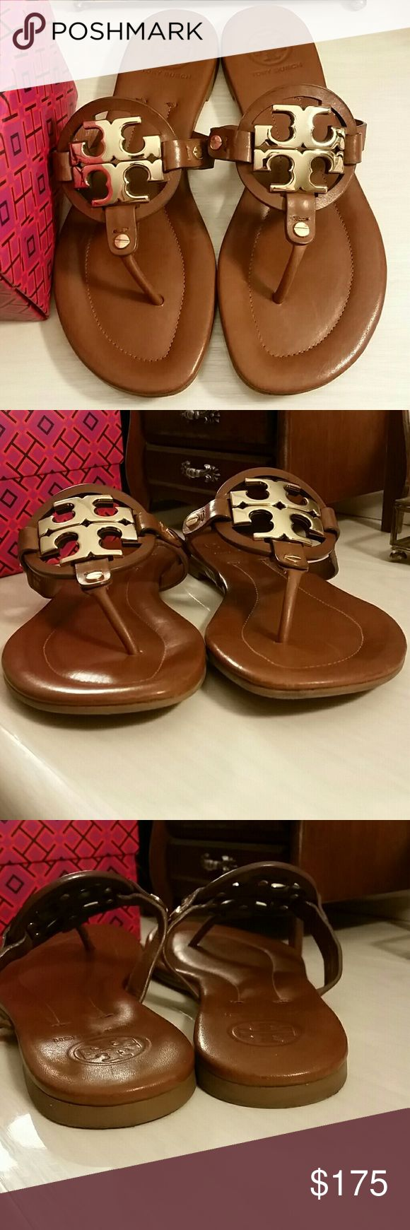 Tory Burch Miller 2 Sandals in Vintage Vachetta ----------PRICE FIRM--------- Tory Burch Miller 2 Sandal in Vintage Vachetta with Gold Emblem. Great pre-owned condition  Leather upper and lining.  Size 7. The Miller 2 style fit true to size in my opinion.  -RARE-Tory no longer produces this style and they are hard to come by in this condition.  Perfect to pair with your favorite LV.  Will include a Tory Burch box for storage (pictured).  *No trades/holds, but thank you * --------PRICE…