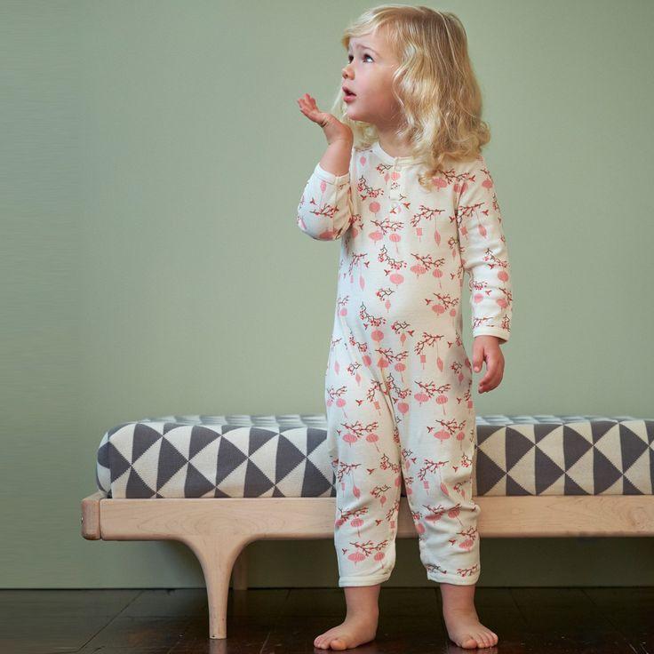 henley pyjama suit / hummingbird print / nature baby