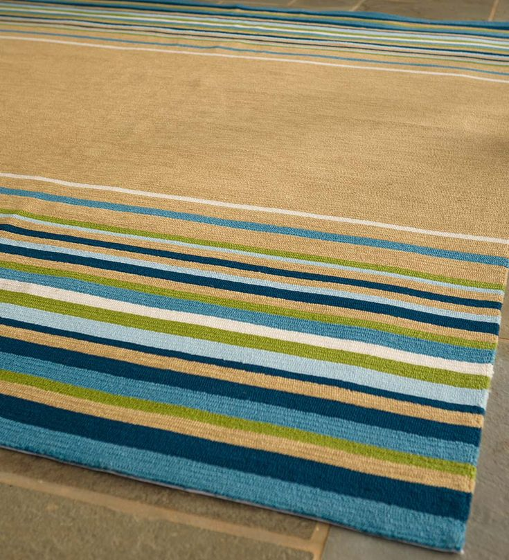 Our Lake House Indoor/Outdoor Stripe Rug Brings The Carefree Attitude Of A  Lake House Retreat To Your Home. Colorful Stripes Set Against A Neutral ...