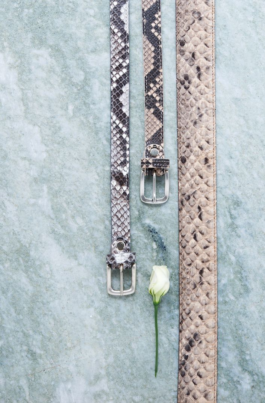 Buckles & Belts - Belt/Gürtel - New Collection 2016 - Pitone - Phyton Leather - roccia - grey - tortora - beige - Design in SWITZERLAND made in ITALY https://www.facebook.com/BucklesBelts