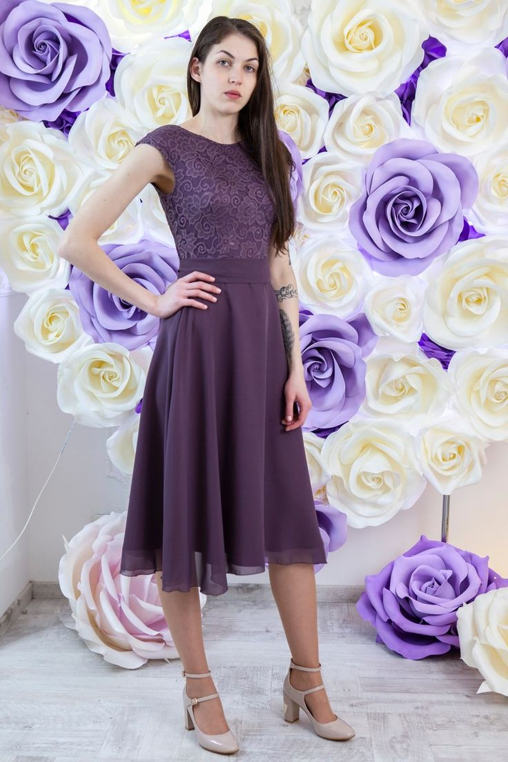 Allison Dusty Purple Lace Modest Prom Dress with Sleeves