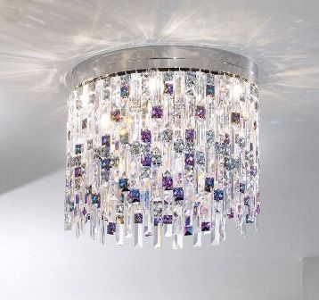 7 Light Swarovski crystal flush chandelier in chrome with lilac tint
