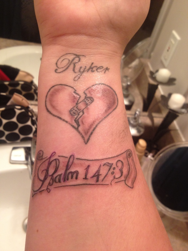 Tattoo psalm 147 3 he heals the broken hearted and for Heart surgery tattoo