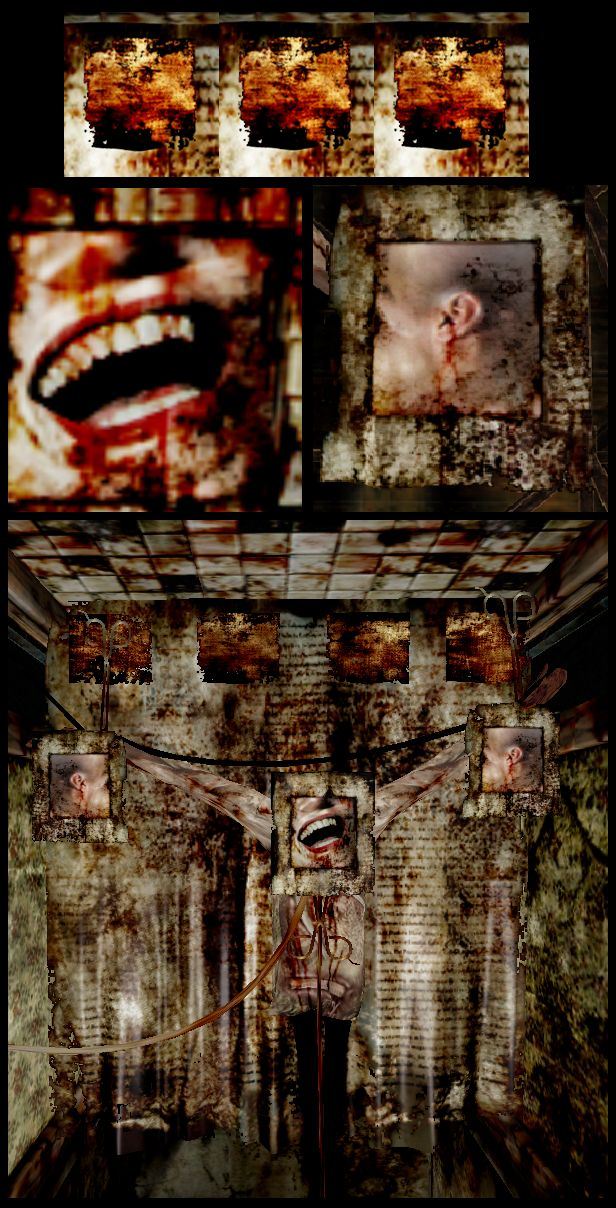 Silent Hill 3. Lisa Garland's smile. Her body has been absorbed by the town. Holding remnants of something that was once a person. Unsettling.