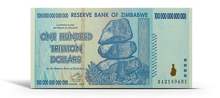 $100,000,000,000,000 Zimbabwean Dollars