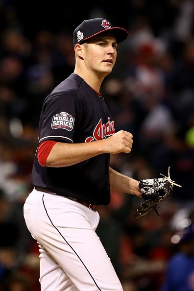 Trevor Bauer of the Cleveland Indians reacts after a double play during the fourth inning against the Chicago Cubs in Game Two of the 2016 World...